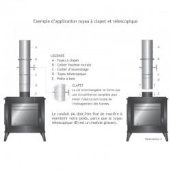 Tubage cheminée inox simple paroi - Tuyau à clapet 1m