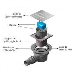 Siphon douche grille en Inox 10x10