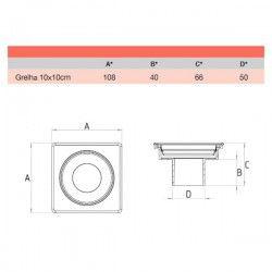 Siphon douche avec grille en Inox 10x10