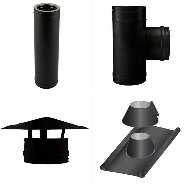 Kit conduit cheminée double paroi Noir / Anthracite Longueur 3,5m