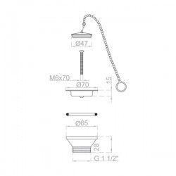 Bonde à bouchon inox avec chaine sécurité Ø 70 mm