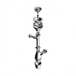 Bonde à panier + siphon 1 cuve pour évier Ø 115 mm