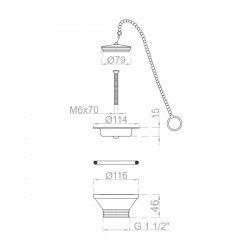 Bonde à bouchon inox avec chaine sécurité Ø 115 mm