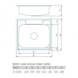 Évier de cusine Inox ONYX 600X550