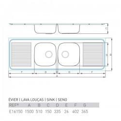 Évier PRO DOUBLE 1500X500
