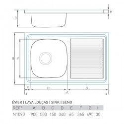 Èvier CASCADE 800X500