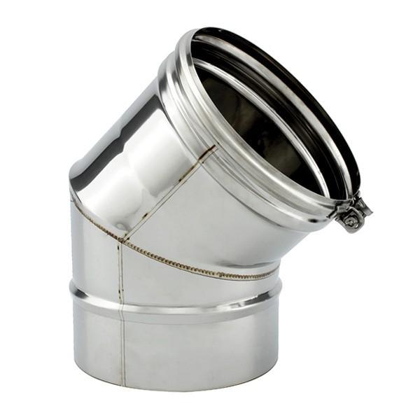 Tubage cheminée inox simple paroi - Coude 45º segments