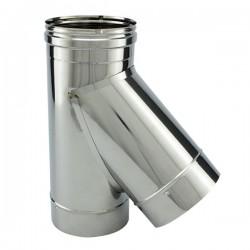 Tubage cheminée inox simple paroi - Té 45º avec bouchon