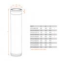 Conduit Inox double paroi isolé - Tuyau 1m