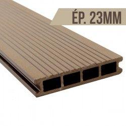 Lame terrasse bois composite Brun clair 2200x140x23mm