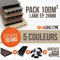 Pack 100m² lames terrasse bois composite 2200x150x28mm