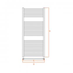 Radiateur alu Sèche-serviettes eau chaude KROM 1200x500
