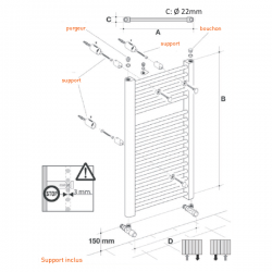 Radiateur alu Sèche-serviettes eau chaude KROM 1200x550