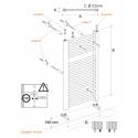 Radiateur alu Sèche-serviettes eau chaude KROM 1500x550