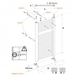 Radiateur alu Sèche-serviettes eau chaude KROM 1800x450