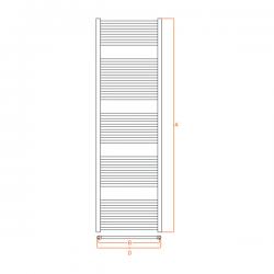 Radiateur alu Sèche-serviettes eau chaude KROM 1800x550