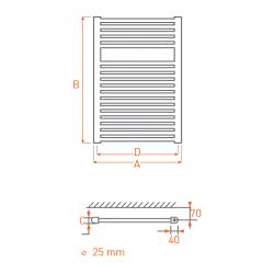 Radiateur acier Sèche-serviettes eau chaude RAIL 800X400