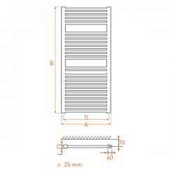 Radiateur acier Sèche-serviettes eau chaude RAIL 1200x400