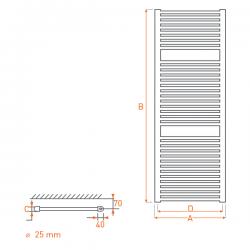 Radiateur acier Sèche-serviettes eau chaude RAIL 1500x450
