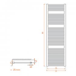 Radiateur acier Sèche-serviettes eau chaude RAIL 1800x400