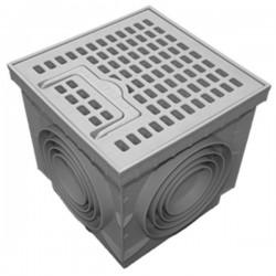Regard sol en polypropylène PP + grille LUX piéton 20x20 cm
