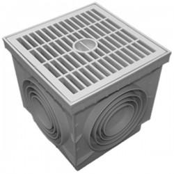 Regard sol en polypropylène PP + grille piéton 40x40 cm