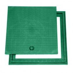 Couvercle + cadre en polypropylène vert 40x40 cm