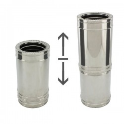 Conduit Inox double paroi isolé - Tuyau télescopique 25/40 cm