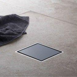 Siphon douche cadre Inox et verre noir 10x10 PREMIUM LINE