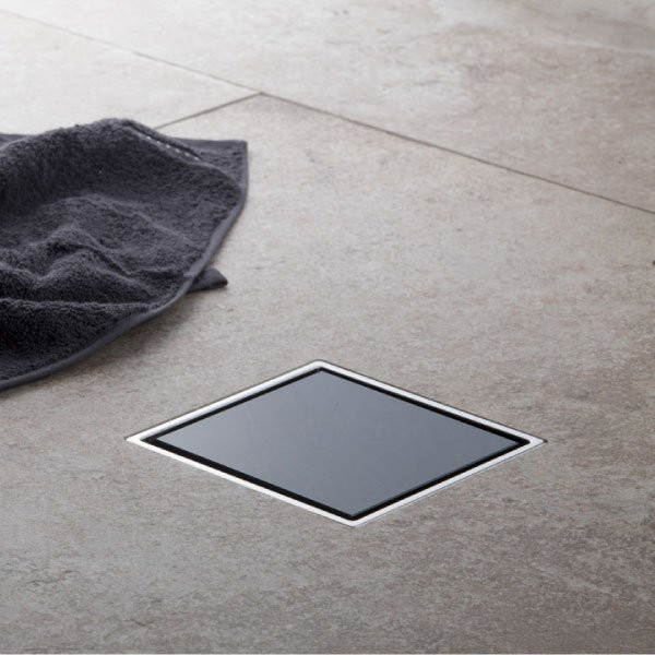 Siphon douche cadre Inox et verre noir